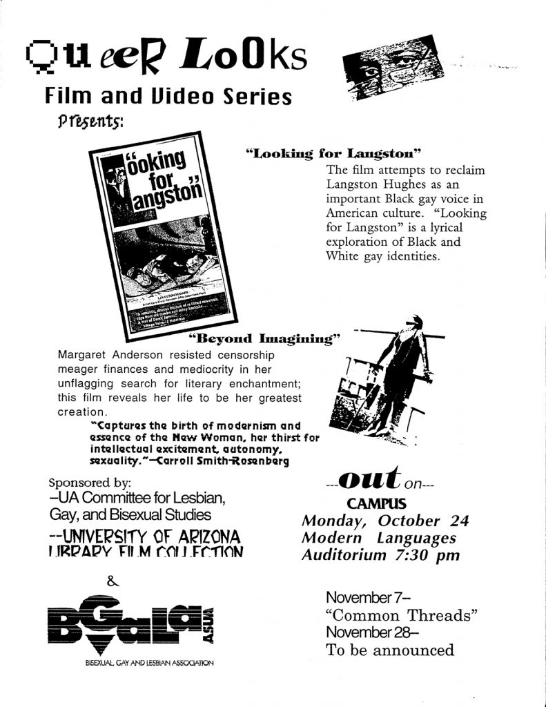 "Lesbian Looks 1994 ""Queer Looks"" flyer"