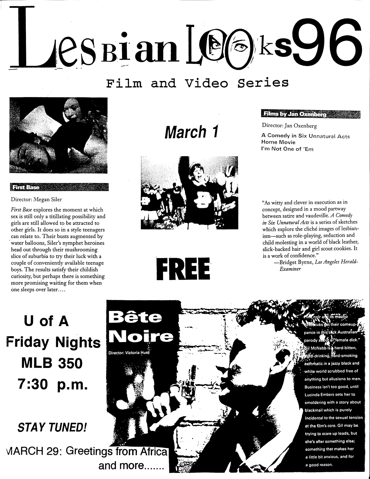 Lesbian Looks 1996 flyer March 1